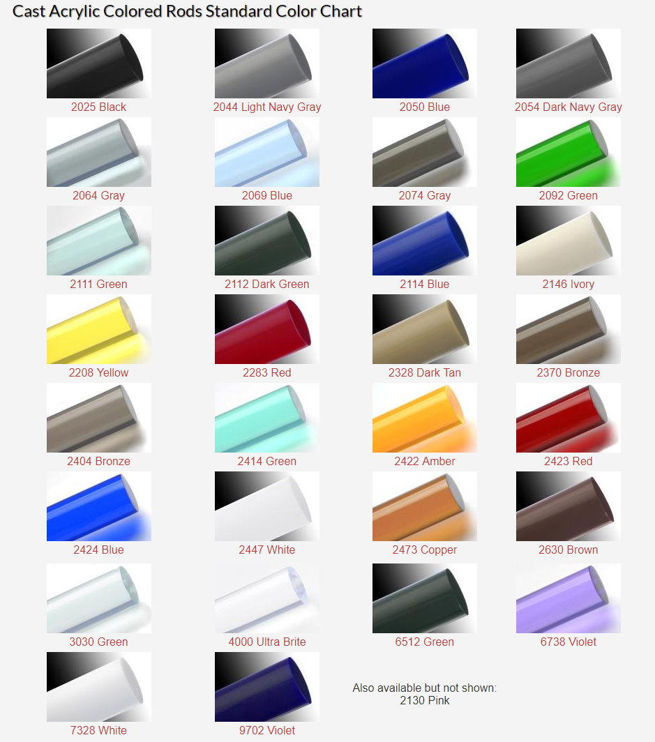 Cast Acrylic Colored Rods [Plastic Colored Rods]